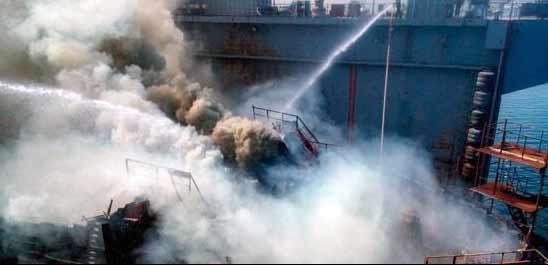 Hiện trường vụ tàu ngầm hạt nhân của Nga bị cháy tại vùng Viễn Đông