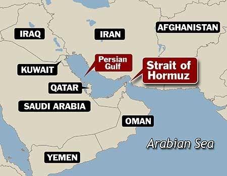 Vị trí eo biển Hormuz, nơi xảy ra vụ đụng độ giữa tàu sân bay Mỹ và tên lửa Iran