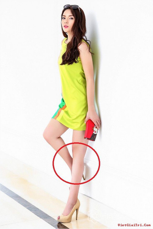 Vết tích photoshop lộ liễu trên chân trái