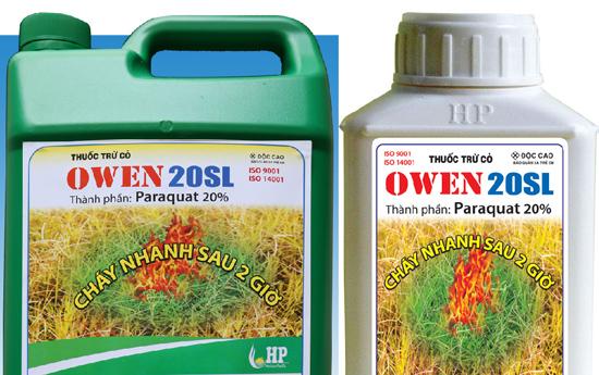 Thuốc trừ cỏ nhãn hiệu Owen- 20 SL mà chị Huế sử dụng để ép 2 con uống trong vụ thảm án ở Hải Dương