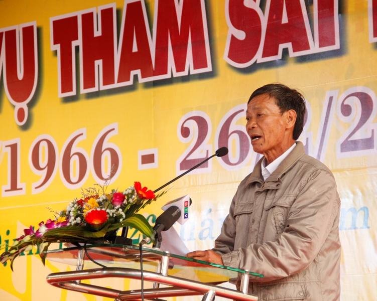 Ông Nguyễn Tấn Lân (ở xã Tây Vinh) - nhân chứng sống trong vụ thảm sát Bình An không bao giờ quên được giây phút kinh hoàng đó