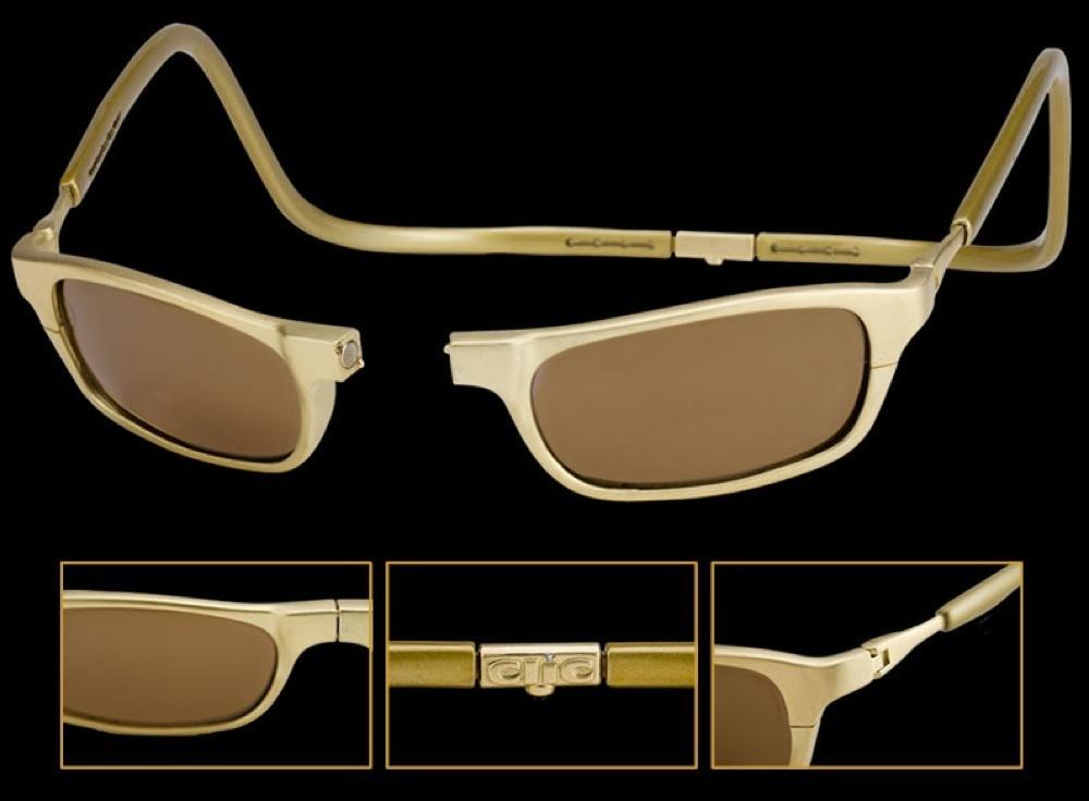 CliC Gold được tạo ra bởi Ron Lando, người đã Kinh doanh kính mắt hơn 35 năm. Sau khi thiết kế ra chiếc kính đọc sách đắt nhất thế giới, năm 2012, ông tiếp tục hợp tác với nhà thiết kế đồ trang sức quốc tế nổi tiếng Hugh Power để tạo ra chiếc kính thể thao xa xỉ nhất thế giới. Tất cả đều được làm thủ công hoàn toàn và hoàn thành trong 40 đến 50 giờ đồng hồ. Được làm từ vàng 18 carat, chiếc kính thể thao này có giá 1,5 tỷ ( ~ 68,000 $)
