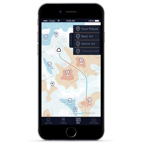 Thiết bị thông minh TZOA sẽ cung cấp bản đồ chất lượng không khí những nơi người dùng đi qua