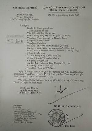 Giới thiệu chữ ký Thủ tướng, 3 Phó Thủ tướng mới