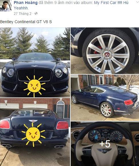 Trước đó, Phan Hoàng đã từng ''khoe'' trên trang cá nhân của mình hình ảnh chiếc Bentley Continental GT V8 S vào tháng 2/2016.