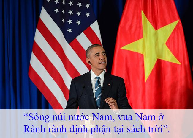 Tổng thống Obama nhắc lại lời của Lý Thường Kiệt khi nói về chủ quyền của Việt Nam.