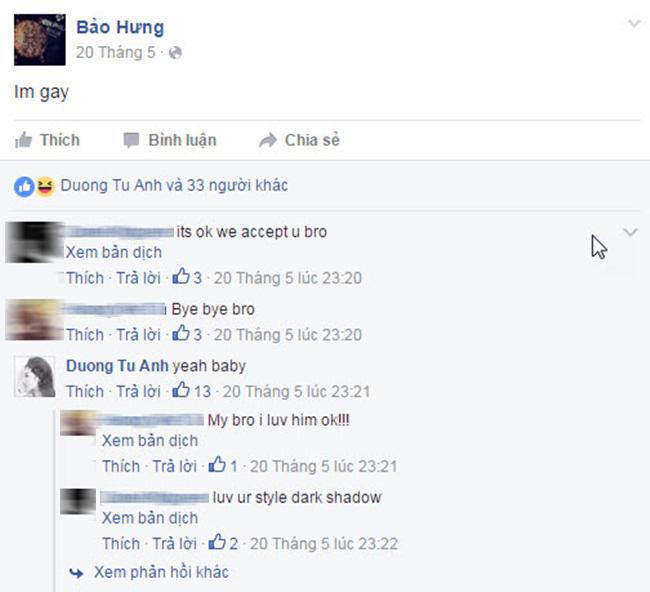 Trên trang cá nhân của Bảo Hưng, Tú Anh cũng trả lời một cách nhí nhảnh, thân mật.