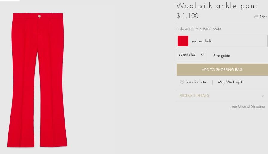 Chiếc quần cùng tông màu đỏ của nhà mốt Gucci mà người đẹp diện được bán với giá 1.100 USD (khoảng 25 triệu đồng).