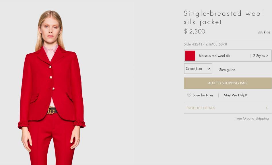 Chiếc Jacket đỏ nổi bật này được bán với giá 2.300 USD ( khoảng 51 triệu đồng).