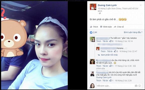 Nữ diễn viên Dương Cẩm Lynh cũng vô cùng thận trọng với trang mạng xã hội, chỉ đăng hình ảnh cá nhân hay đồng nghiệp của cô. Tuy nhiên. Vào khoảng tháng 5, tức là sau khi chia tay nam diễn viên Minh Luân được một thời gian, cô đã bất ngờ chia sẻ bức ảnh được ''gấu'' chở đi làm.
