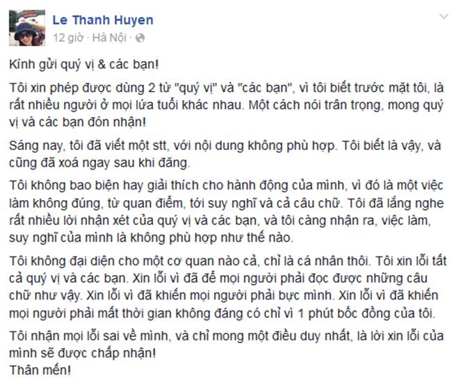 Nhiều người tức giận trong status của BTV Thanh Huyền không chỉ bởi quan điểm riêng của cô ấy, rằng vẫn thích Triệu Vi. Yêu ghét một ai đó là quyền cá nhân. Song trong hoàn cảnh này, nhiều người cho rằng không nên thể hiện thái độ như vậy. Đoạn cuối status của BTV Thanh Huyền còn cho rằng 'thanh niên bây giờ chỉ chửi đổng là giỏi'. Ngay khi vấp phải sự phản ứng dữ dội của dư luận, BTV Thanh Huyền đã một lần nữa lên trang cá nhân xin lỗi khán giả. Tuy nhiên, nhiều người không thấy sự chân thành trong lời xin lỗi của cô bằng việc xưng hô 'quý vị và các bạn' cùng với lời chào 'thân mến' ở cuối.