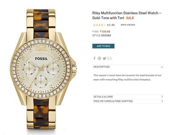 Chiếc đồng hồ họa tiết đồi mồi này có giá gốc là 155$ (khoảng 3,3 triệu đồng).