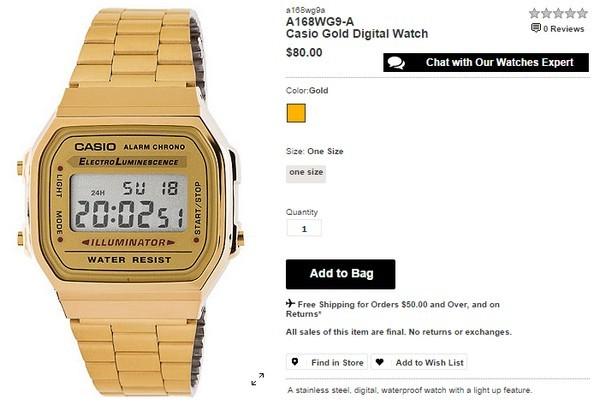 Chiếc đồng hồ của Quỳnh Anh Shyn là một thiết kế vintage của Casio. Một trang web tại Mỹ đang bán nó với giá 80$ (hơn 1,6 triệu đồng).