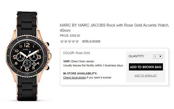 Chiếc đồng hồ sành điệu này cũng của Marc By Marc Jacobs và có giá 350$ (hơn 7 triệu đồng).