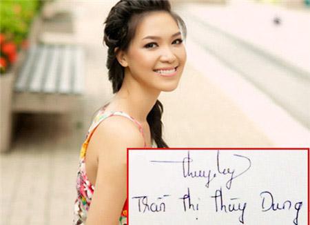 Chữ ký Hoa hậu Thùy Dung không mấy khó khăn để bắt chước.