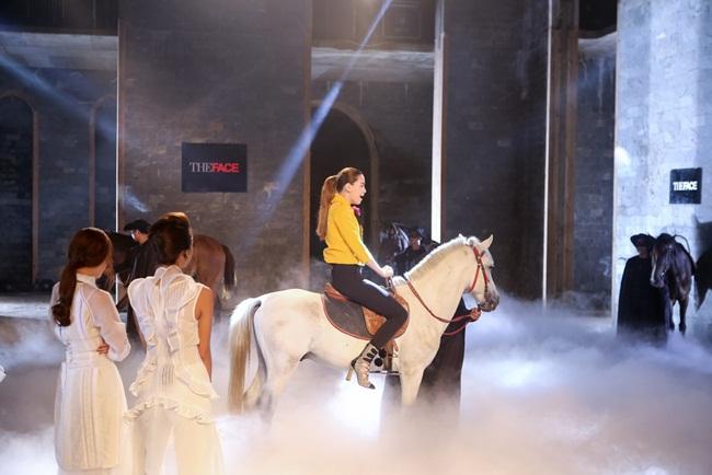 Thử thách 1: Chụp hình với tuấn mã. Các thí sinh The Face sẽ ngồi trên lưng ngựa, tạo dáng và thực hiện một bộ ảnh. Đảm nhận vai trò thị phạm cho các thí sinh ở thử thách này là Huấn luyện viên Hồ Ngọc Hà.