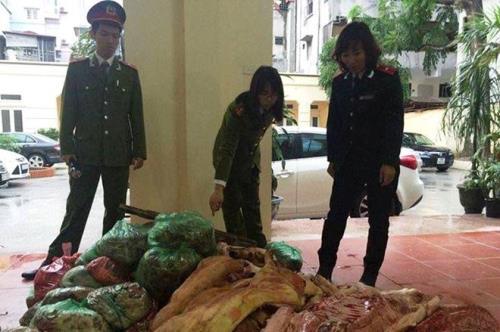 Cơ quan chức năng tịch thu, tiêu hủy toàn bộ số thịt lợn chết đang bốc mùi hôi thối