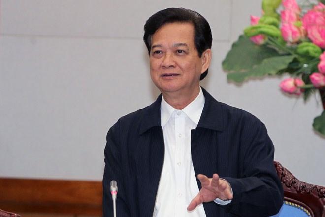 Thủ tướng Nguyễn Tấn Dũng dự Hội nghị trực tuyến với các địa phương tổng kết năm 2014 và triển khai kế hoạch năm 2015. Ảnh: Laodong