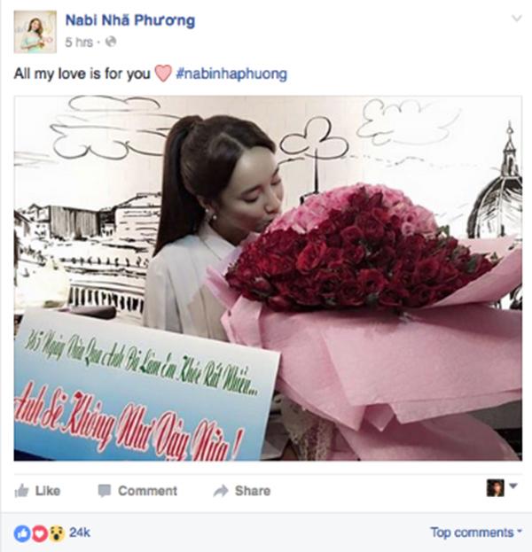 Trên trang cá nhân của mình, nữ diễn viên 'Tuổi thanh xuân' cũng đăng tải một dòng trạng thái đầy xúc động: 'All my love is for you (Tất cả tình yêu của em dành cho anh)'.