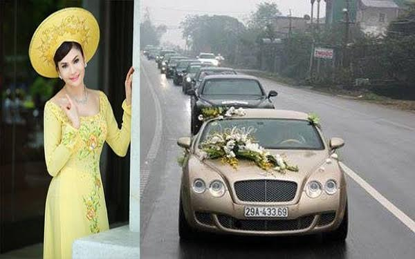 Cùng với độ 'chịu chơi' của vùng đất miền Trung nghèo khó này của bà còn thể hiện trong đám cưới có sự tham dự của nhiều siêu xe, chi gần 50 tỷ đồng cho một đám cưới.
