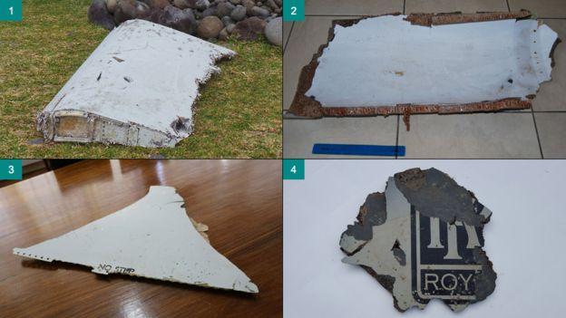 4 trong số 5 mảnh vỡ được tìm thấy của máy bay Malaysia MH370 mất tích bí ẩn