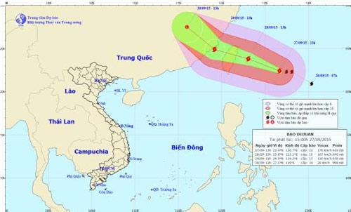 Đường đi của siêu bão Dujuan, theo tin bão mới nhất