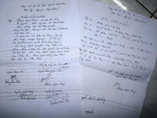 Giấy biên nhận tiền của bà Tươi do Phạm Ngọc Hùng ký có nội dung giả danh phóng viên báo Công An TP.Đà Nẵng