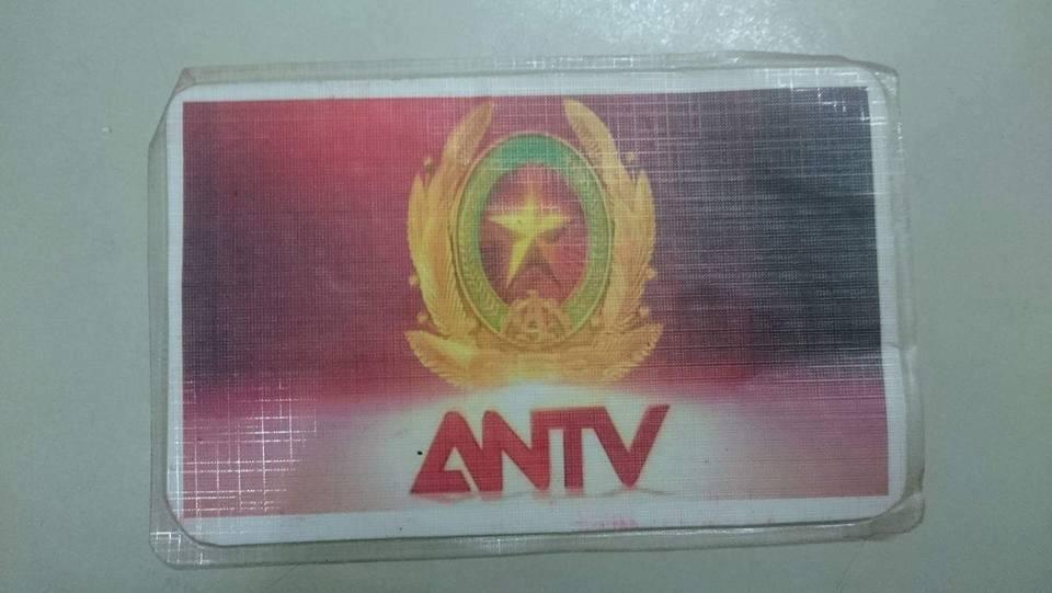 Mặt trước chiếc thẻ của Truyền hình ANTV mà đối tượng Ngô Quang Vũ làm giả