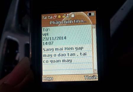 Tin nhắn được gửi tới điện thoại ông Doãn Hà Thấng sau cú điện thoại hỏi