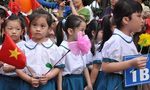 Học sinh Hà Nội trong lễ khai giảng năm học