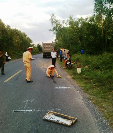 Hiện trường vụ tai nạn xảy ra chiều ngày hôm qua