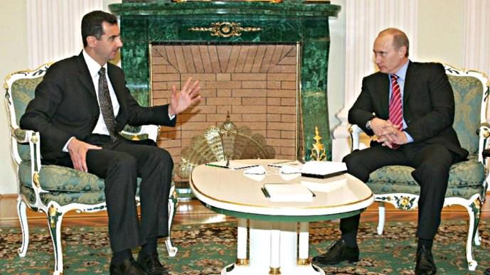 Tổng thống Syria Bashar al-Assad (trái) và Tổng thống Nga Vladimir Putin