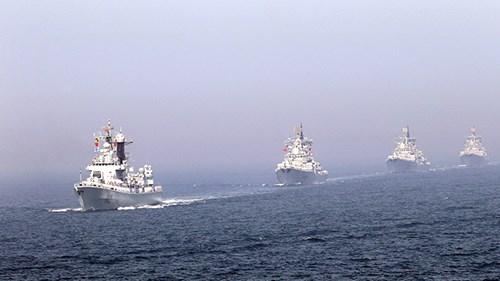 Tàu chiến Nga và Trung Quốc trong cuộc tập trận hải quân chung ở Hoàng Hải năm 2012