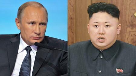 Tổng thống Nga Vladimir Putin (trái) sẽ gặp ông Kim Jong-un