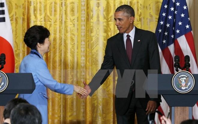 Tổng thống Mỹ Barack Obama và Tổng thống Hàn Quốc Park Geun-hye tại Washington DC ngày 16/10