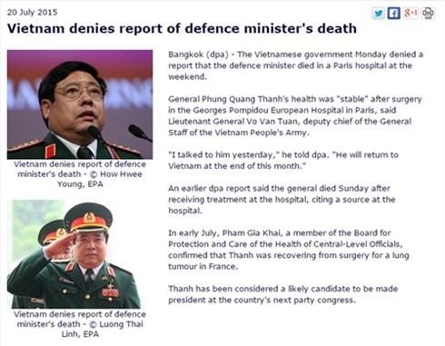 Việt Nam đã yêu cầu hãng tin DPA cải chính thông tin sai về Đại tướng Phùng Quang Thanh, theo tin tức mới cập nhật trong nước