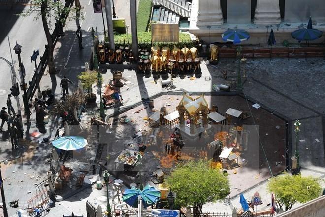 Hiện trường vụ nổ bom ngoài đền thờ Erawan ở Bangkok ngày 18/8