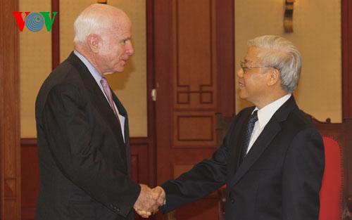 tin tức mới cập nhật hôm nay cho biết Tổng Bí thư Nguyễn Phú Trọng tiếp Đoàn Thượng Nghị sỹ Mỹ