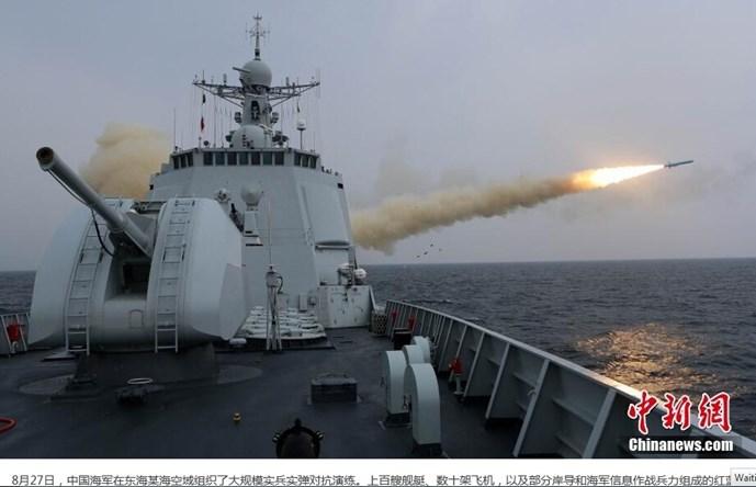 Tàu chiến Trung Quốc khai hỏa trong cuộc tập trận ở biển Hoa Đông ngày 27/8