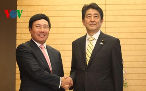 tin tức mới cập nhật hôm nay cho biết  Phó Thủ tướng, Bộ trưởng Phạm Bình Minh hội kiến với Thủ tướng Nhật Bản Shinzo Abe