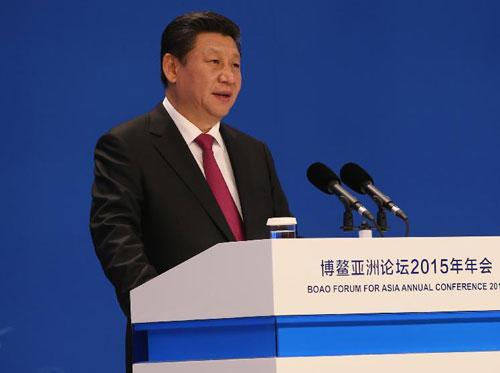 Chủ tịch Trung Quốc phát biểu tại Diễn đàn Bác Ngao hôm nay. Ảnh: Xinhua