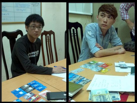 Hai đối tượng lừa đảo nợ cước qua điện thoại người Đài Loan bị Công an Hà Nội bắt hồi tháng 6/2014, Ảnh PC50 cung cấp
