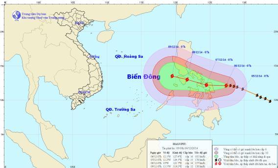 Tin bão mới nhất từ TTKTTV cho hay bão Hagupit sẽ đổ bộ vào Philippin trong đêm này hoặc sáng sớm mai