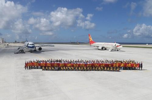Hai máy bay Trung Quốc hạ cánh trái phép xuống Đá Chữ Thập thuộc quần đảo Trường Sa của Biển Đông Việt Nam