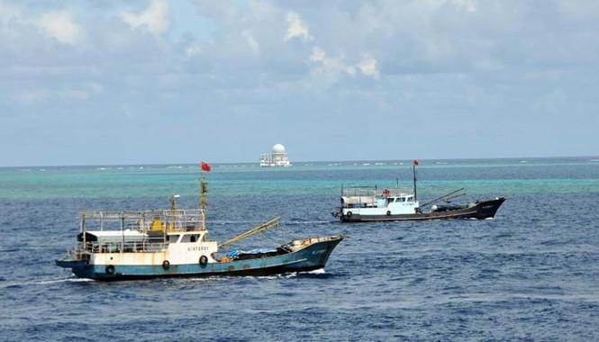 Tàu cá Trung Quốc đang tăng cường đánh bắt phi pháp gần đá Chữ Thập thuộc quần đảo Trường Sa của Biển Đông Việt Nam