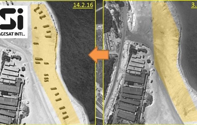 Hình ảnh vệ tinh chụp ngày 14/2 cho thấy các bệ phóng tên lửa mà Trung Quốc đưa ra Biển Đông, trong khi ngày 3/2 chưa có