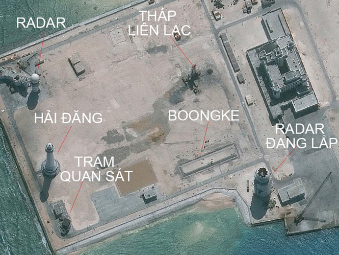 Hình ảnh được cho là radar và nhiều cơ sở phi pháp khác của Trung Quốc trên đá Châu Viên ở Biển Đông
