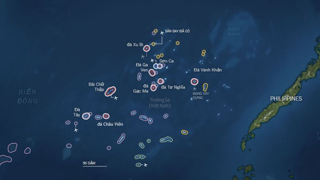 Bản đồ các thực thể Trung Quốc chiếm đóng bất hợp pháp trên quần đảo Trường Sa của Biển Đông Việt Nam