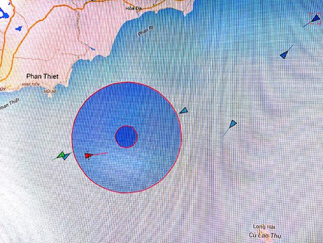 Vị trí tàu cá Việt Nam bị chìm trên vùng Biển Đông ngoài khơi Bình Thuận