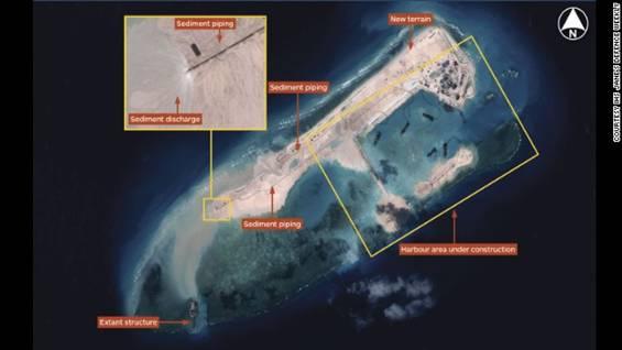 Ảnh vệ tinh cho thấy các hoạt động của Trung Quốc cải tạo Đá Chữ Thập thuộc Biển Đông Việt Nam